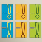 Set of patterns brochures with an exclamation mark