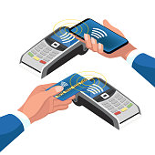 set of payment methods without contact. payment via smartphone and card. isometric 3d