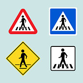 Set of pedestrian crossing sign isolated on background. Vector illustration.