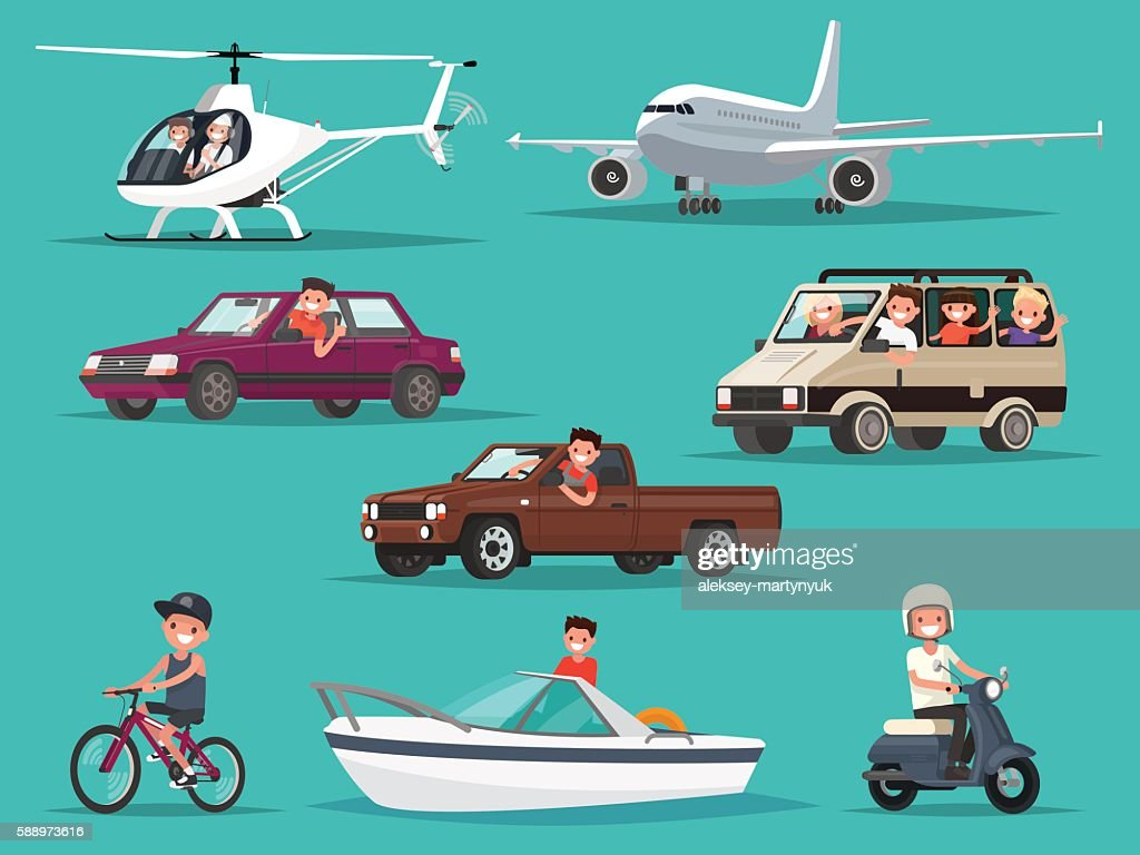 Set of people and vehicles. Aircraft, helicopters, cars, moped,