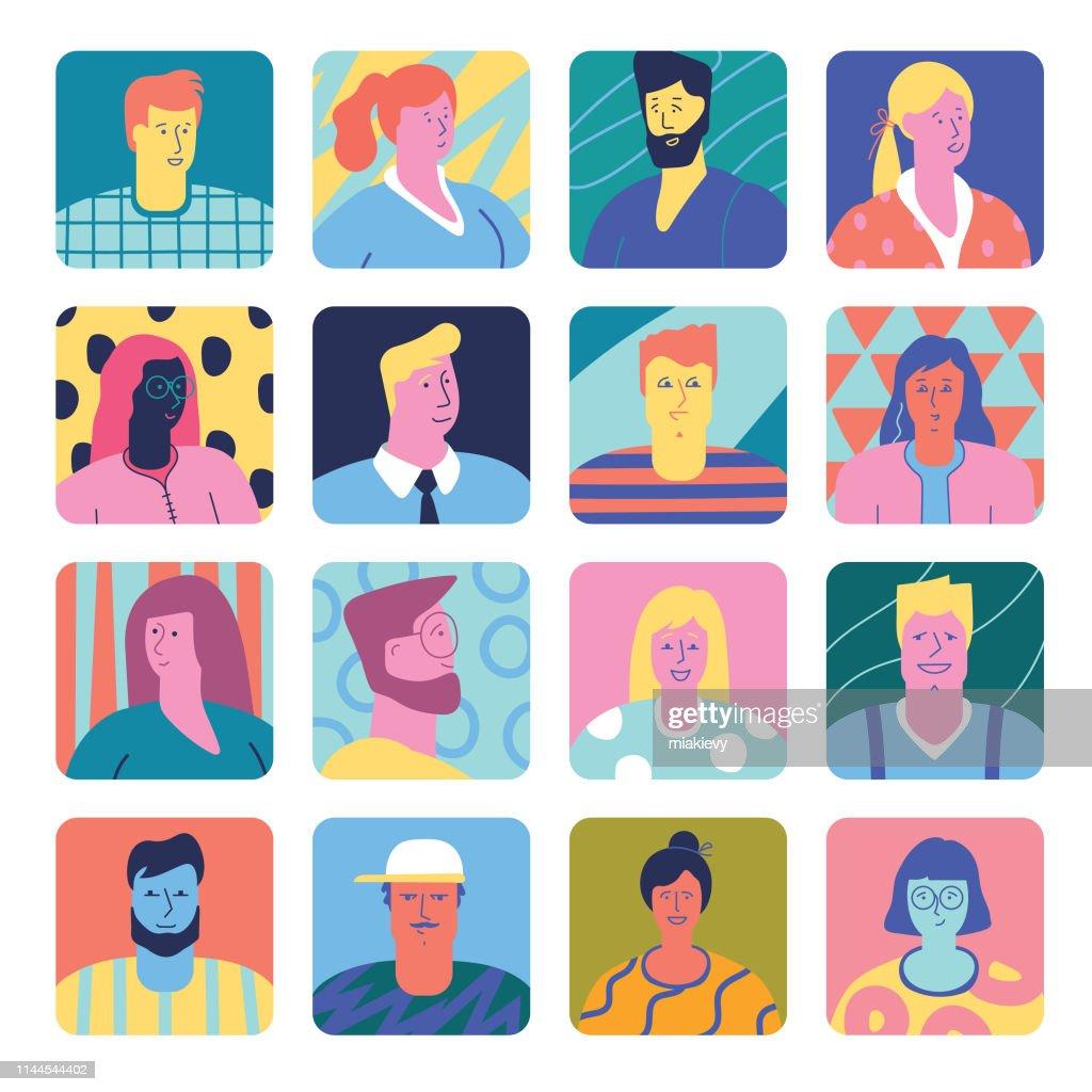 人のアバターのセット : ストックイラストレーション