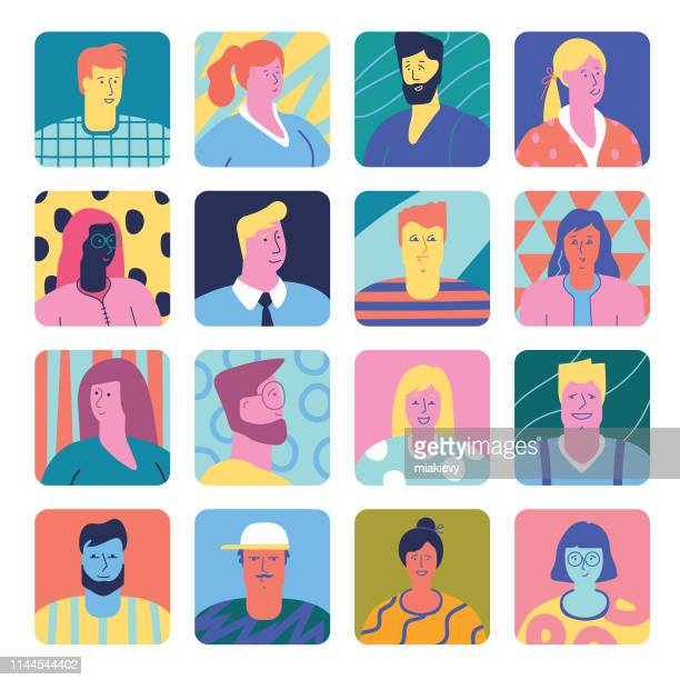 set of people avatars - illustration technique stock illustrations