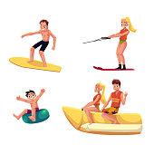 Set of people enjoying summer water activities, having fun