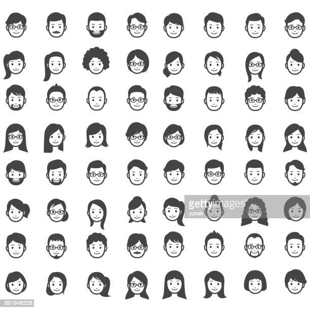set of people icons - human face stock illustrations