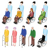 Set of people in a wheelchair in an isometric view.