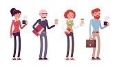 Set of people in casual wear with coffee, folder, bag