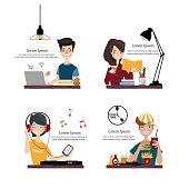 Set of People Lifestyle.Vector/Illustration