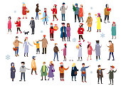 Set of people wearing top winter clothes isolated on white background. A large group of men and women, couples, walking in the winter, drinking drinks, talking, shopping and other outdoor activities. Flat cartoon characters. Vector illustration template,