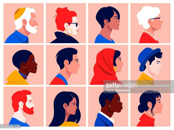 A set of people's faces in profile: men, women, young and elderly of different races and nations.