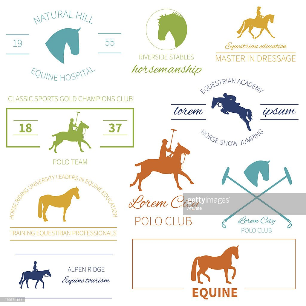 Set of perfect high quality horse labels for equestrian activities