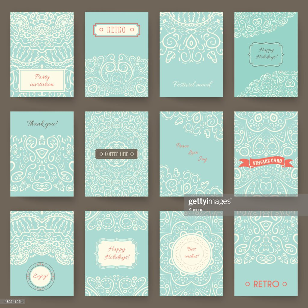 Set of perfect holiday templates with doodles tribal theme