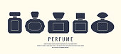 A set of perfume bottles. Black silhouette on a white background, vector illustration
