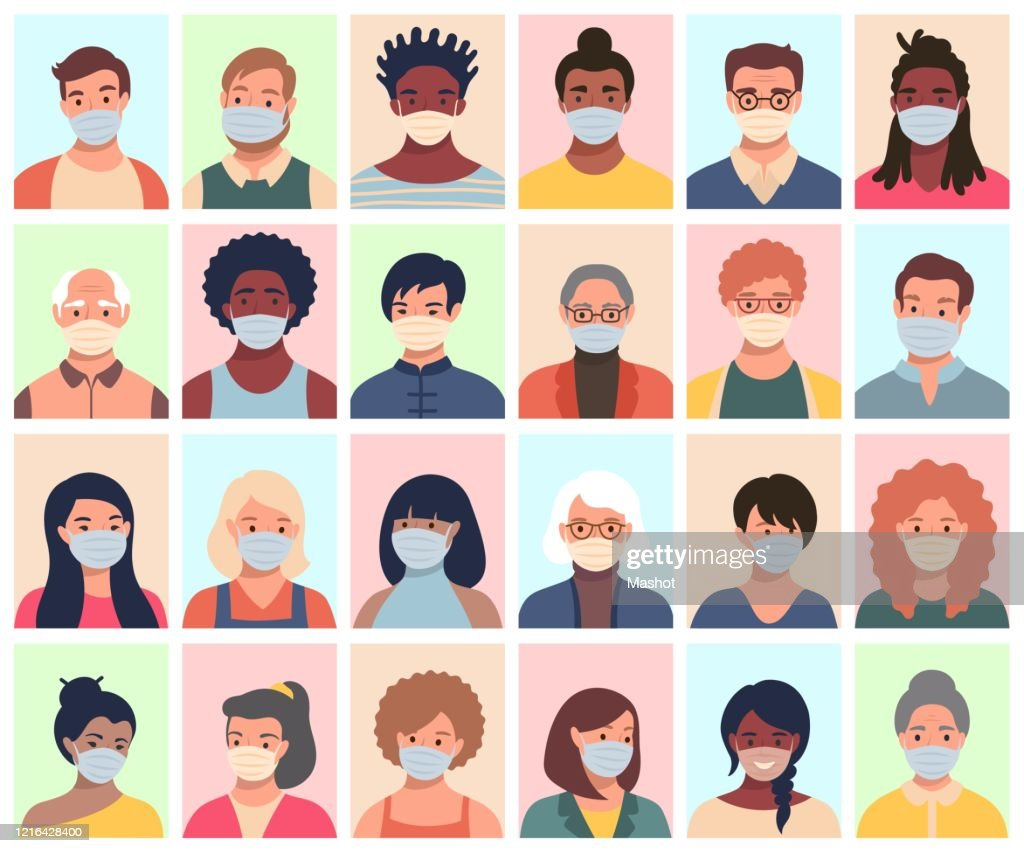 Set of persons, avatars, people heads of different ethnicity and age in protective masks. Men and women in flat style following recommendations for the prevention of coronavirus. : stock illustration