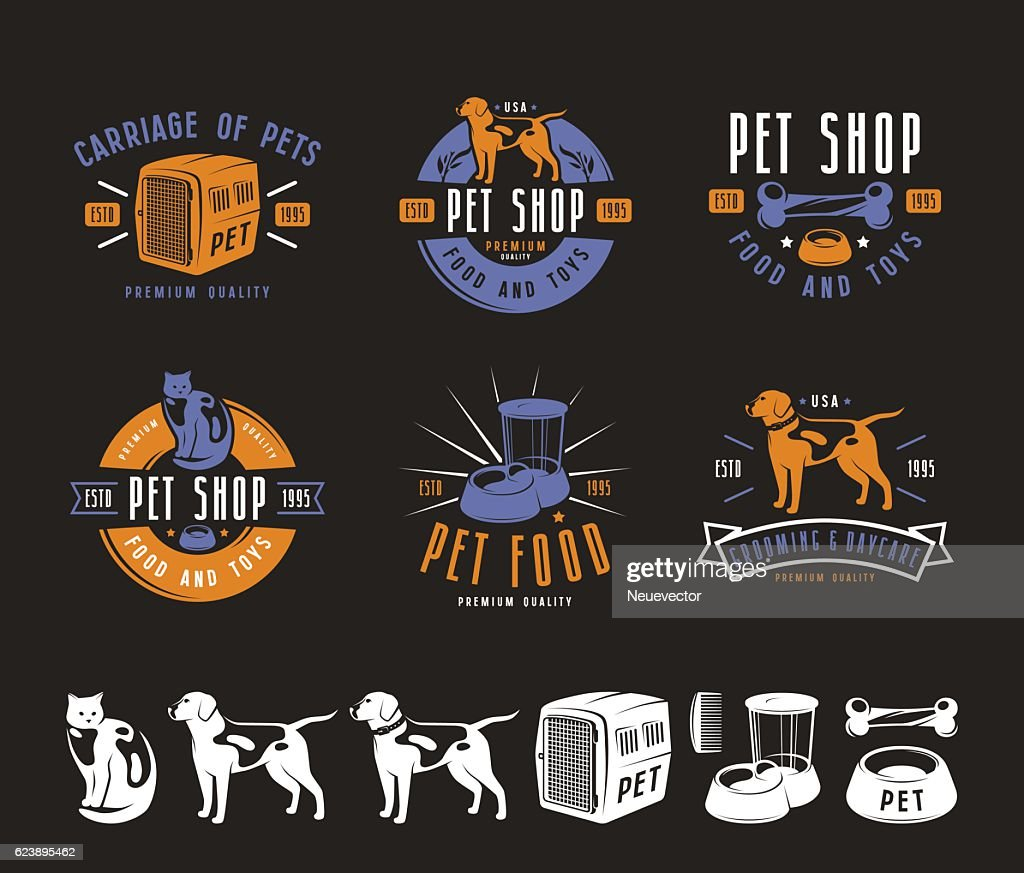 Set of pet care labels, badges and design elements