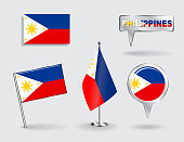Set of Philippines pin, icon and map pointer flags. Vector