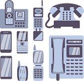 Set of phones on white background.