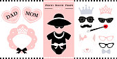 Set of photo booth printable props for bridal, baby shower, birthday party and wedding in vintage style. Vector frame of bonnet shape.