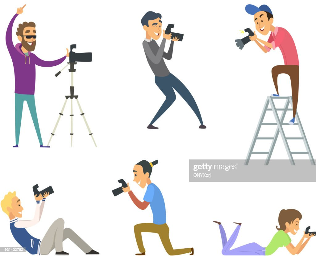 Set of photographers at work. Male and female cartoon characters with digital cameras