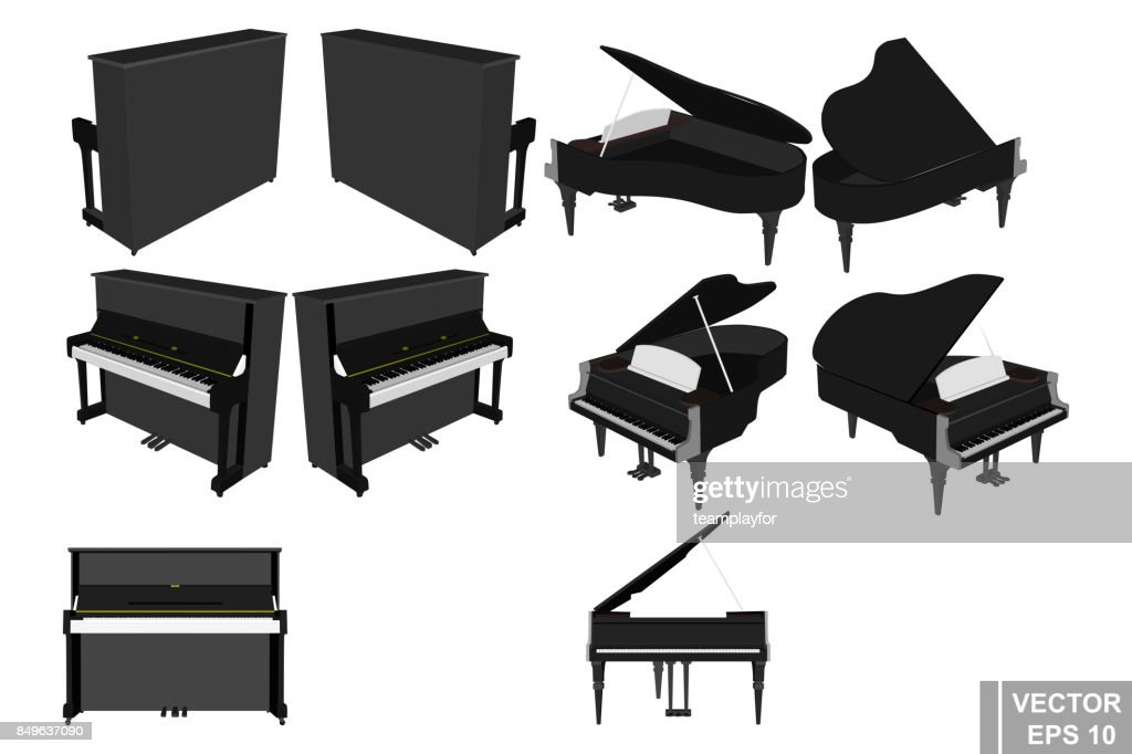 A set of pianos and pianoforte. Musical instrument. Realistic. Isolated on white background.