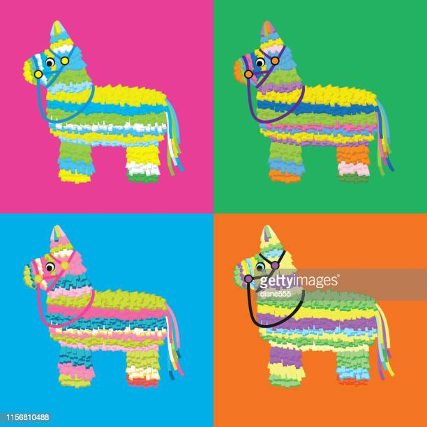 set of piñata on vibrant saturated colors - pinata stock illustrations