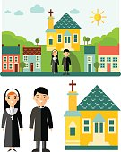 Set of pictures priest, church and landscape with religion concept