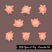 Set of pig cartoon characters. Design elements for 2019 year of the pig.