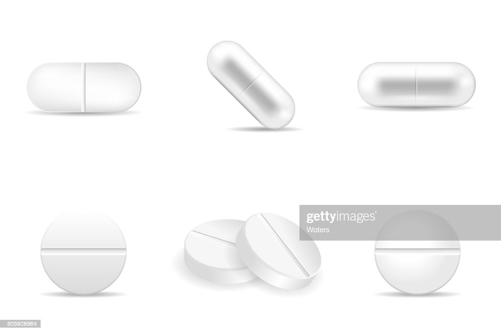 Set of pills and drugs in any shapes and forms.