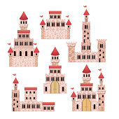 set of pink castles of fairy tales in white background