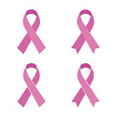 Set of pink ribbon isolated on white background. Vector illustration.