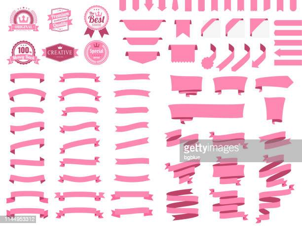set of pink ribbons, banners, badges, labels - design elements on white background - pennant stock illustrations