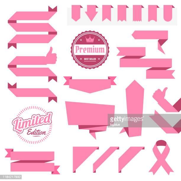 stockillustraties, clipart, cartoons en iconen met set van roze linten, banners, badges, etiketten-ontwerpelementen op witte achtergrond - medaille