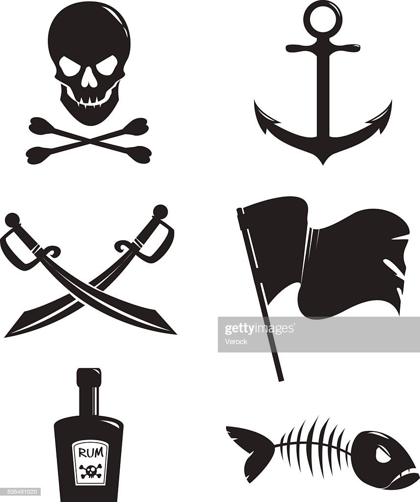 Set of pirat accessories isolated on white background.