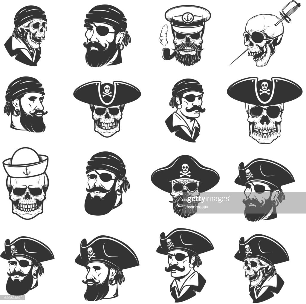 Set of pirate heads and skulls. Design elements for label, emblem, sign, badge, poster, t-shirt. Vector illustration