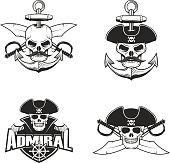 Set of pirate skulls