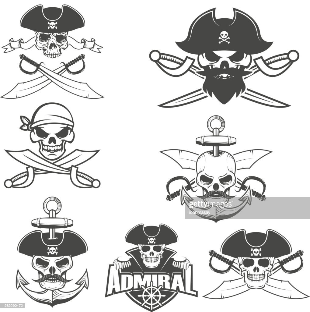 Set of pirate skulls.