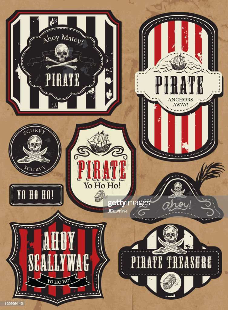 Set of Pirate themed labels