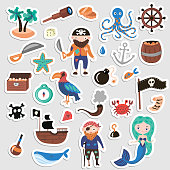 Set of Pirates vector cartoon stickers. Adventures and Pirate party sticker for Kindergarten. Children Adventure, treasure, pirates, octopus, whale, ship - Kids drawing vector cartoon stickers about Pirates and treasures