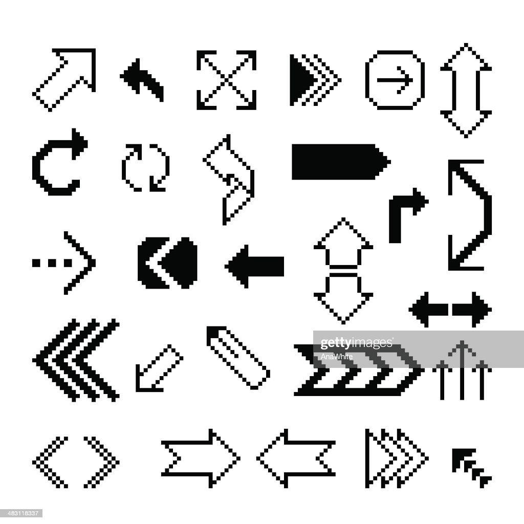 Set of pixel arrow symbol