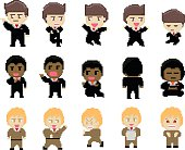 Set of pixel business characters design