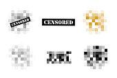 Set of Pixel censored signs.