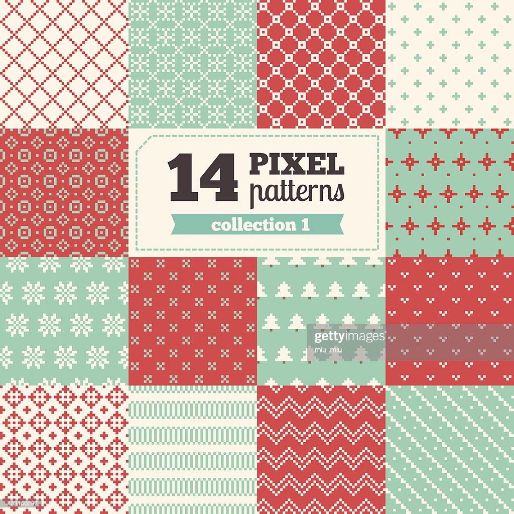 Set of pixel patterns - Christmas