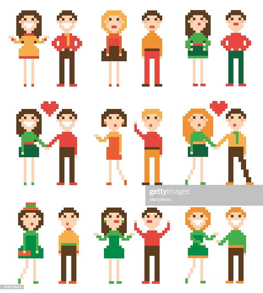 Set of pixel people. : Vektorgrafik