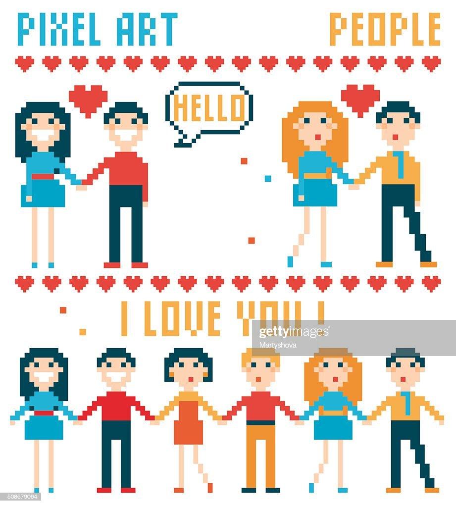 Set of pixel people, words, hearts. : Vector Art