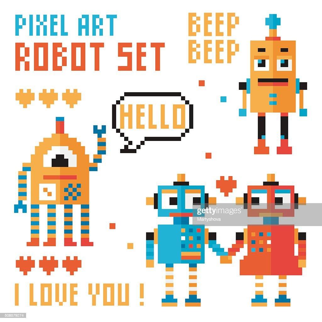 Set of pixel robots, words, hearts. : Vectorkunst