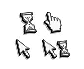 Set of pixelated 3d cursors, pointers