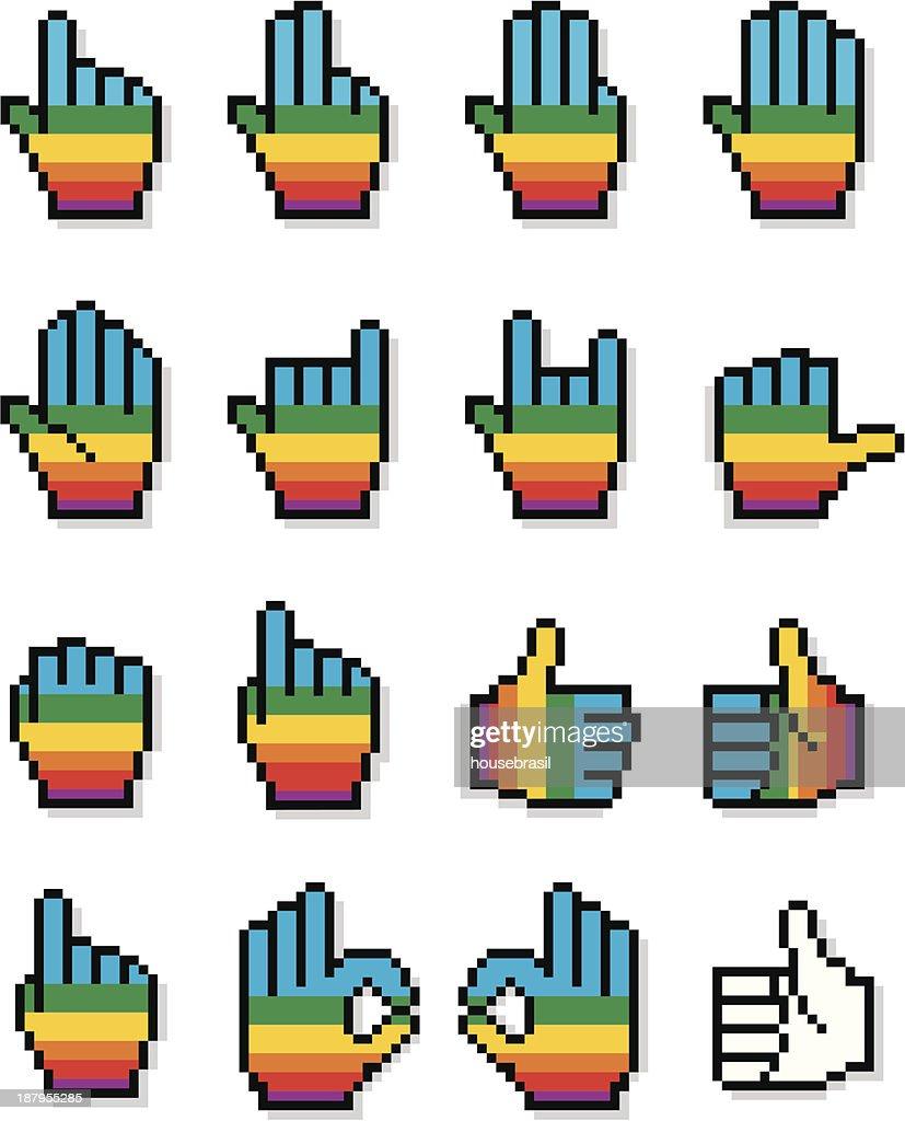 Set of Pixelated Cursor Hands