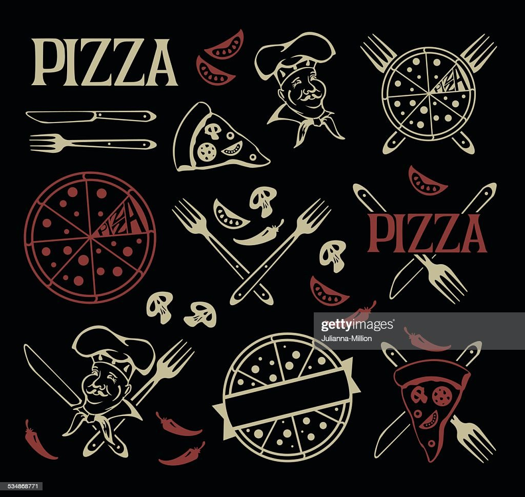 Set of pizza icons and design elements