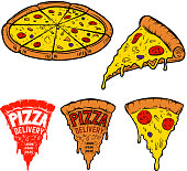 Set of pizza illustrations isolated on white background. Design elements for label, emblem,sign. Vector illustration