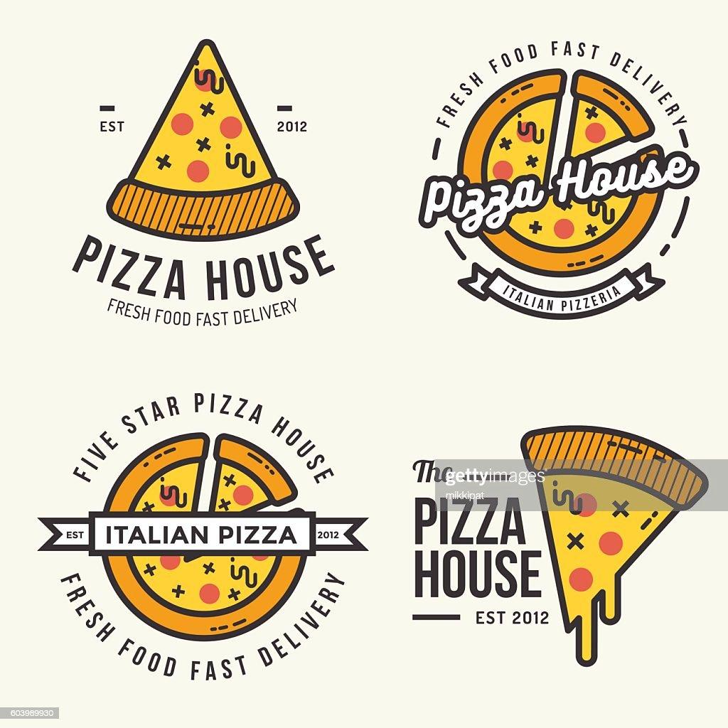 Set of pizza logo, badges, banners for fast food restaurant.