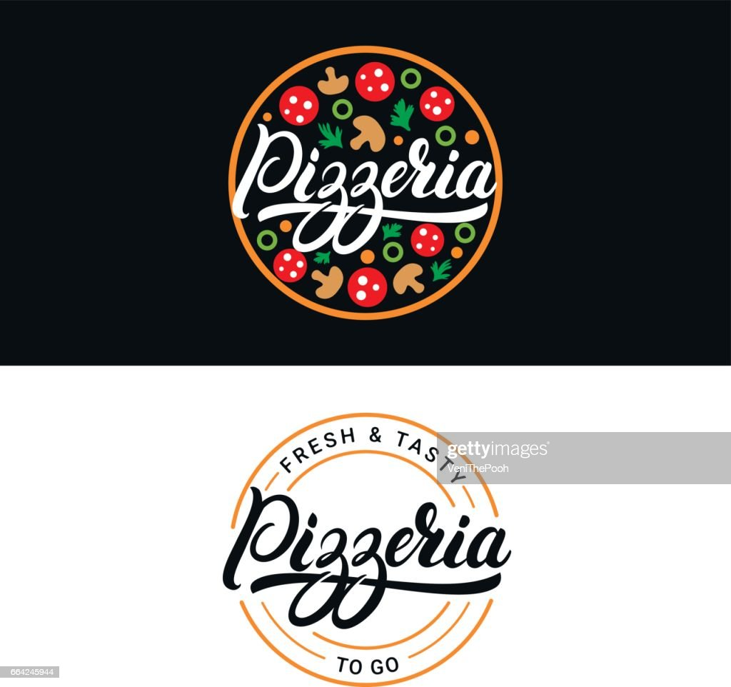 Set of pizzeria hand written lettering label, badge or emblem.